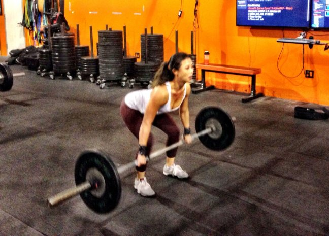 Julia Hong with heavy Clean & Jerks for reps.